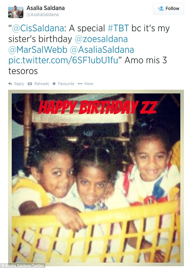Toddler trio: Her sister Asalia also wished Zoe a happy birthday by sharing a special Throwback Thursday childhood snap of the siblings