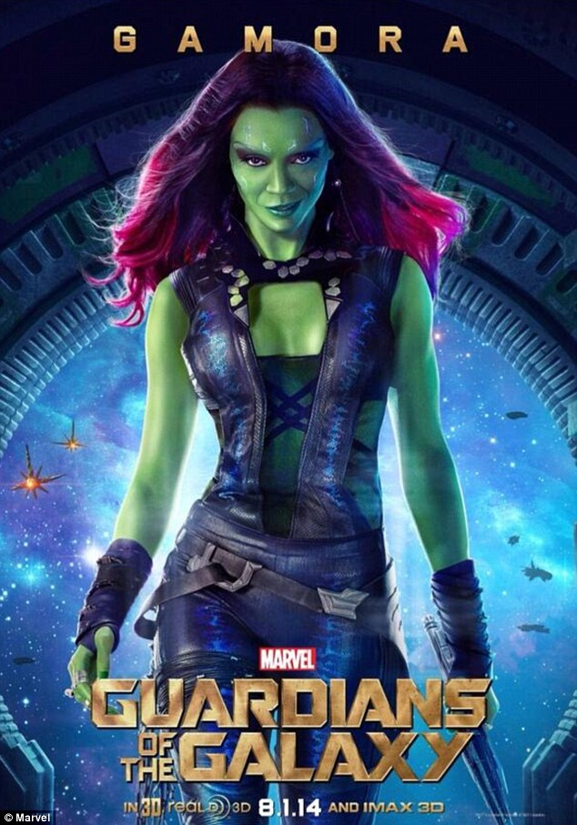 'I like being in space because there are better parts for women in space': Meanwhile, Zoe plays green-skinned superhero Gamora - the last of the Zen Whoberi species - in Guardians of the Galaxy