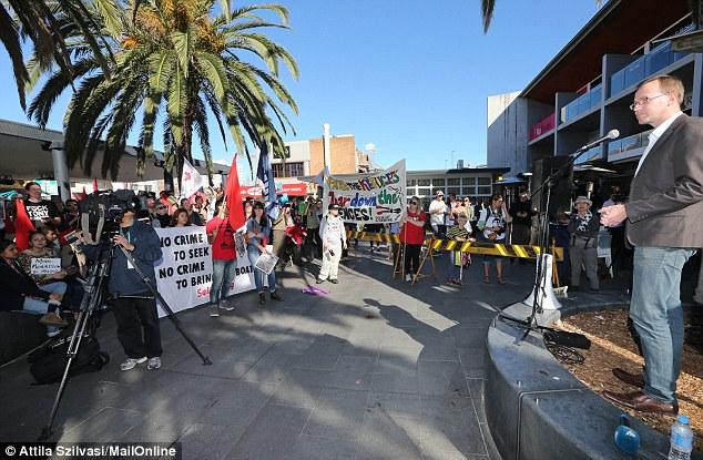 Greens upper house MP David Shoebridge spoke at the rally today