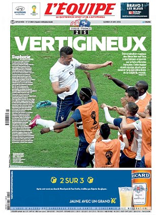 Top of the world: L'Equipe reflect on France's impressive 5-2 win over Switzerland at the World Cup on Friday night