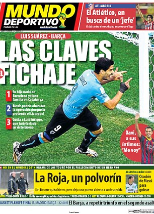 Transfer chase: Mundo Deportivo have more particulars on the mooted £51m transfer of Luis Suarez from Liverpool to Barcelona this summer