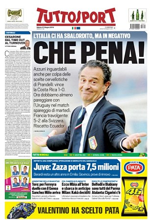 Pitiful: Tuttosport stick the knife in to Italy boss Cesare Prandelli after the unexpected defeat, as Italy looked a shadow of the side that beat England in their opening match