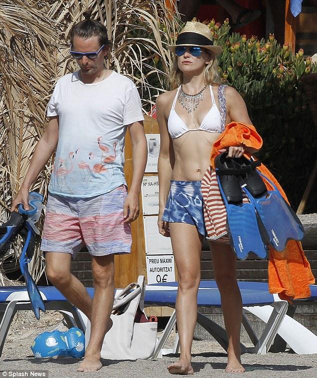 Beach ready: Kate Hudson and Matt Bellamy were seen on the beach on Saturday in Ibiza