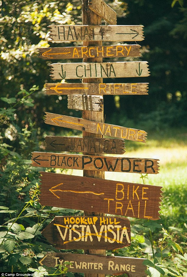 Signs point to the adult summer camp attractions such as the bike trail and the typewriter range