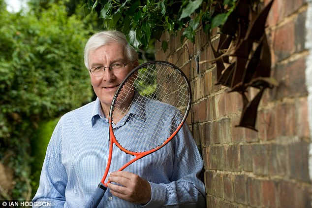 Long service: Doug Dickson, pictured with one of the rackets Andy Murray used in the 2013 final, was a locker room attendant at Wimbledon for 44 years