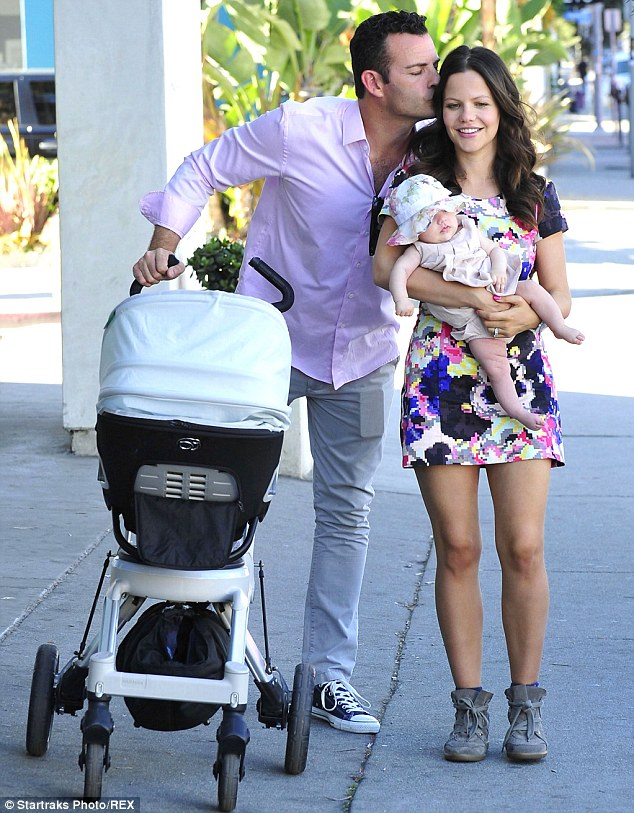 Young family: The brunette star welcomed her first baby daughter with husband actor and producer Sean McKewan in October last year