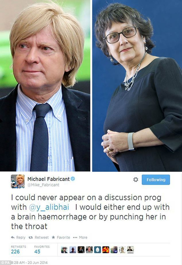 The offending tweet: Fabricant (left) and the tweet in which he said he wanted to punch female journalist Yasmin Alibhai-Brown