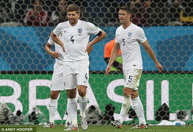 Failure: England were eliminated from the World Cup after losing their two opening games to Italy and Uruguay