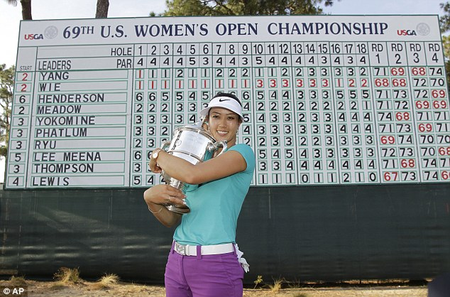 Birdie: Wie nailed a 25-foot birdie putt on 17 on her way to win the U.S. Open at Pinehurst on Sunday