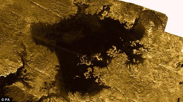 Perspective: A wider Nasa photograph of Titan's north polar sea Ligeia Mare, captured by the Cassini probe