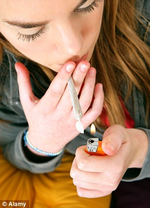 More than 13,500 youngsters under the age of 18 and addicted to cannabis were sent for medical treatment last year (picture posed by model)
