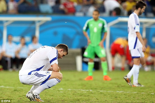 Dejected: Bosnia and Herzegovina are another European side who are making an early exit from Brazil