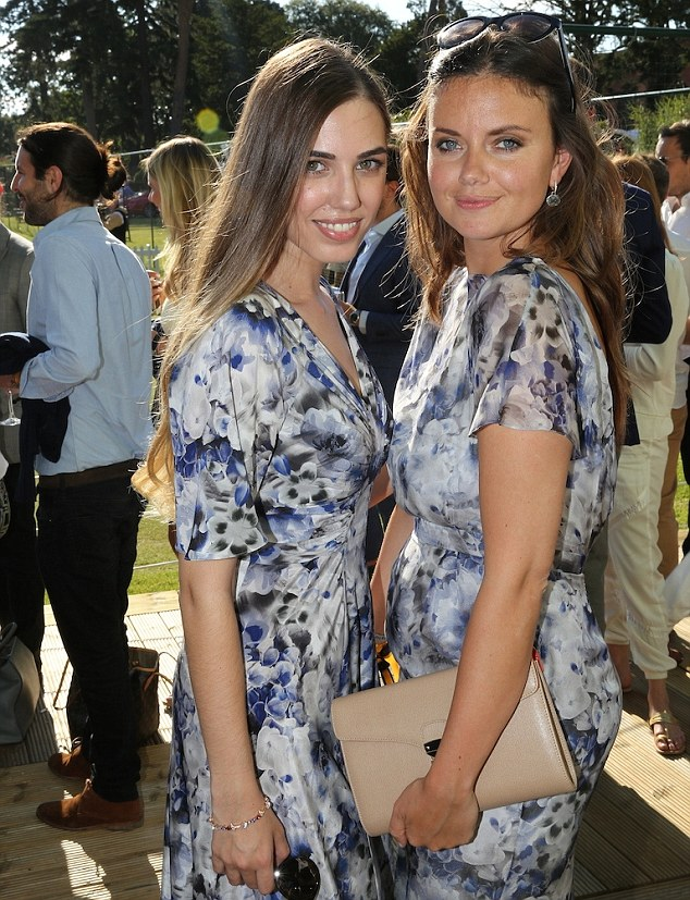 Perfect prints: Amber Le Bon and designer Lady Natasha Rufus Isaacs both opted for striking Beulah London gowns for the occasion, with Natasha teaming her dress with an Aspinal of London shield lock Manhattan clutch