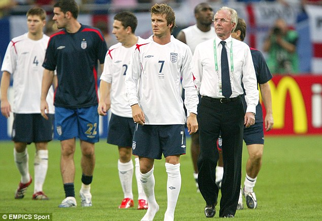 Underperformed: Eriksson's England were expected to do better than two quarter finals at World Cups