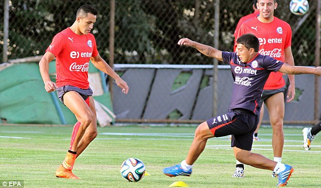 Danger man: Alexis Sanchez (left) has impressed for Chile and has attracted interest from Livepool