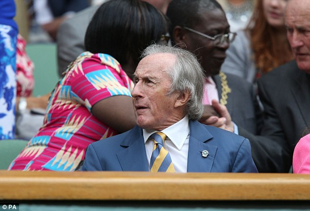 Legend: Sir Jackie Stewart was at Wimbledon to cheer on his fellow countryman