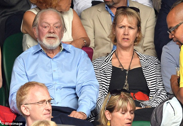 Legend: David Jason and Gill Hinchcliffe took their seats on Centre Court