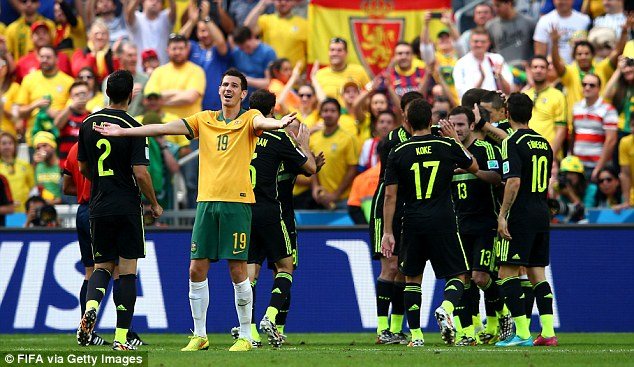 Basement boys: Ryan McGowan reacts after Torres scored Spain's second