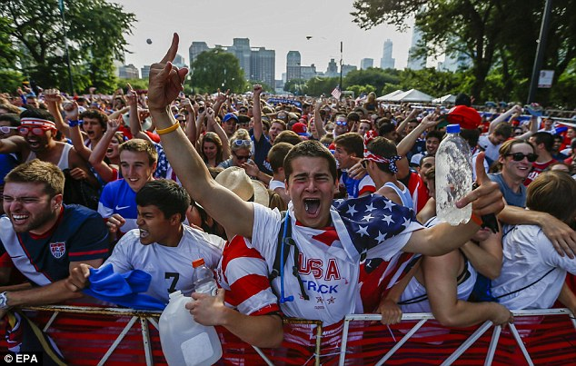 A fan in Grant Park shows his love for Team USA during its match with Portugal on Sunday