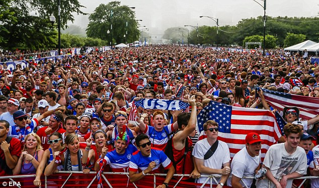 An estimated 20,000 people flocked to Grant Park in Chicago to watch the group G match between the U.S. and Portugal