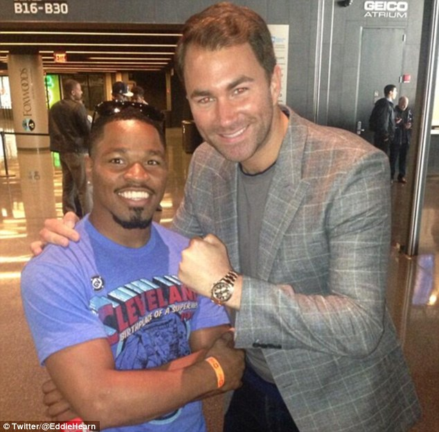 Done deal: Matchroom Boxing promoter Eddie Hearn posted this picture with Shawn Porter after striking the agreement for him to fight Brook in Brooklyn