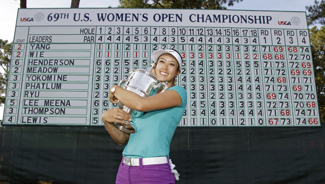 Michelle Wie poses with the trophy after winning the U.S. Women's Open golf tournament in Pinehurst, N.C., Sunday, June 22, 2014. (AP Photo/Bob Leverone)