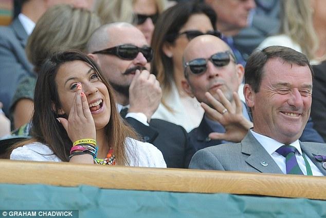 Still going: Bartoli seated in the Royal Box ahead of the match between  Sabine Lisicki and Julia Glushko.