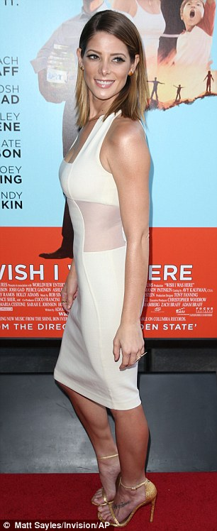 Stunner: Ashley Greene, who also stars in the film, looked stunning in a white dress featuring a sheer cut-out panel on her waist
