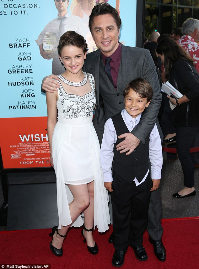 Movie family: Zach posed with Joey and also young Pierce Gagnon as they helped welcome their film