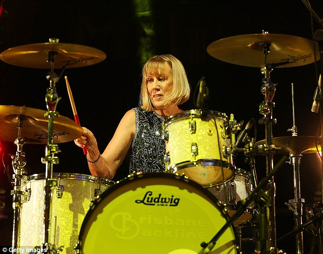 Drummer Girl: Lindy Morris entertained the industry crowd, showing her skills on the drums