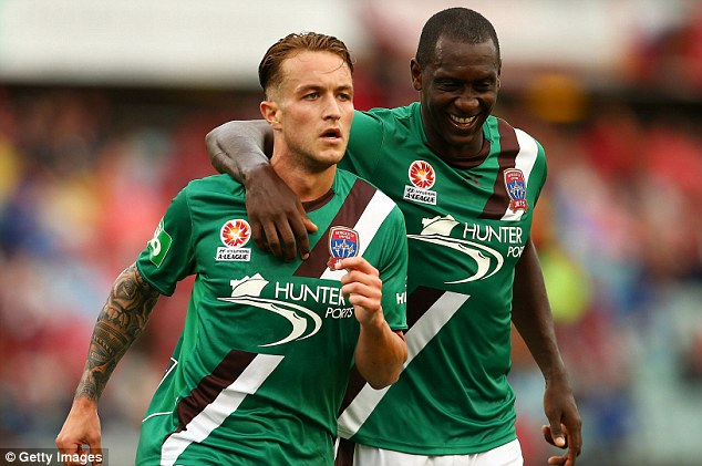 Duo: Taggart was the strike partner of Emile Heskey at Newcastle Jets in the A-League