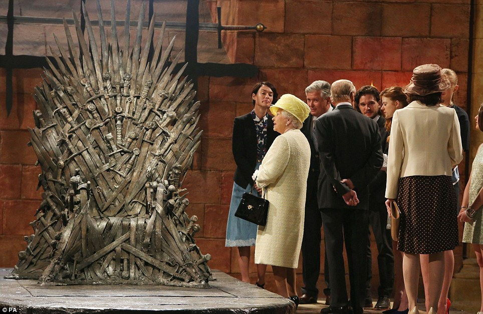 Looks uncomfortable! Buckingham Palace refused to say whether the Queen and Duke of Edinburgh watch Game of Thrones