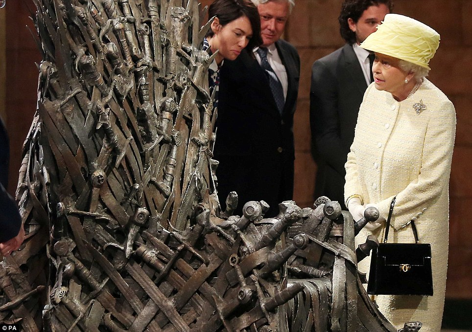 Curious? The Queen steps a little closer to the throne which according to Westeros legend, is made from more than 1000 swords - is she tempted to take a seat?