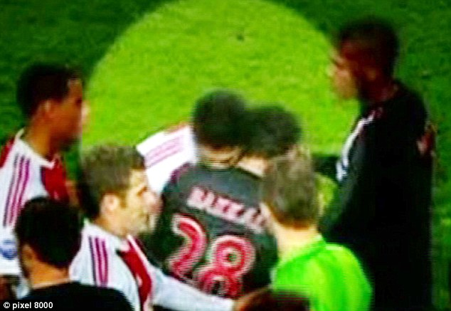Previous: Luis Suarez received a seven game ban for biting PSV's Otman Bakkal while playing for Ajax in 2010