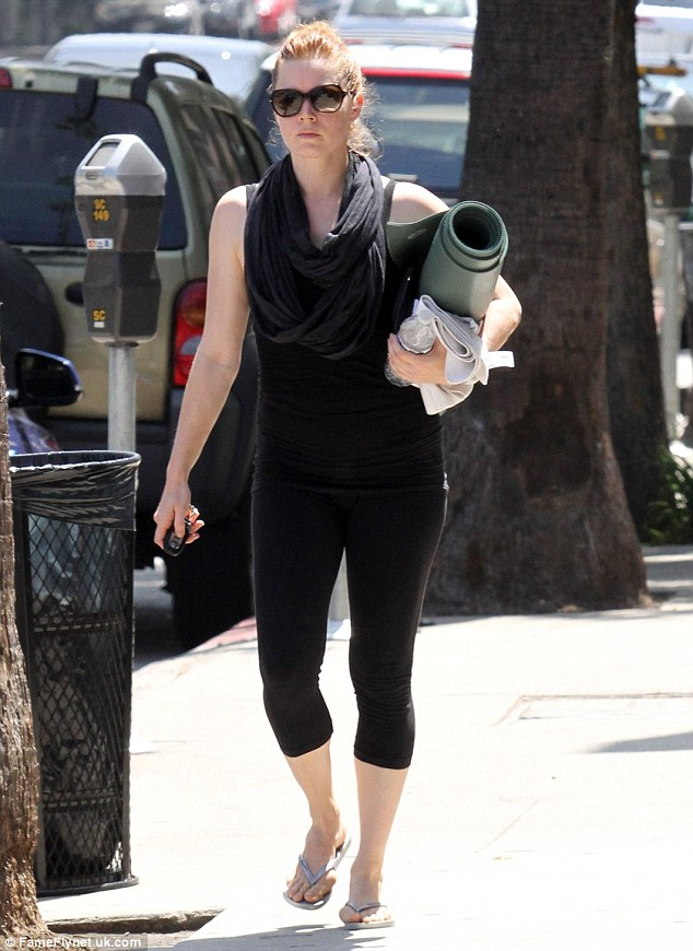 Toned: Amy Adams was the picture of fitness in snug black leggings as she left her yoga class in Studio City on Tuesday