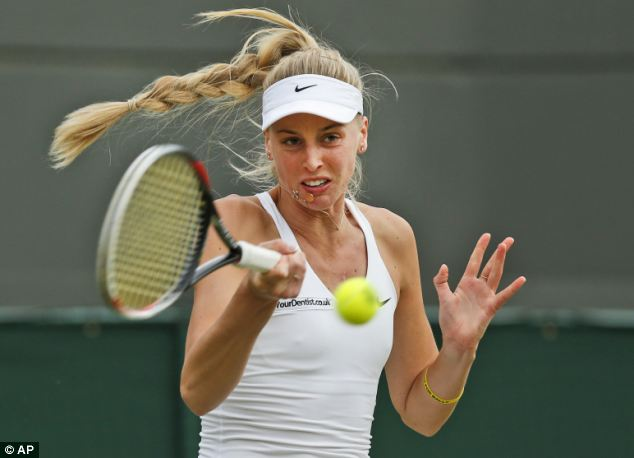 Crashing out: Last night Broady was defeated after a hard-fought match against her doppelganger, Danish Caroline Wozniacki