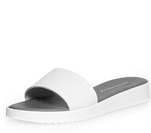 White leather pool slider, £15, dorothyperkins.com