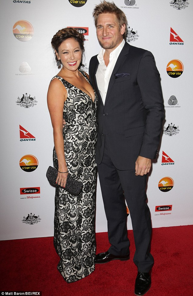 Homebound: Curtis and his wife Lindsay Price, pictured at the black tie gala in LA last January, have returned to Australia as they expect a second child