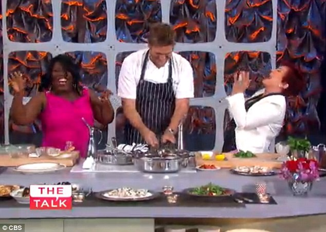 My you can talk! Sheryl (L) and Sharon Osbourne (R) burst into laughter as the chef swore