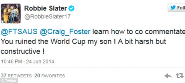 Robbie Slater hit out at Foster claiming he had 'ruined the World Cup'