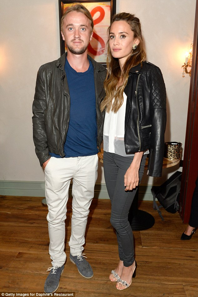 Date night: Harry Potter actor Tom Felton and his girlfriend Jade Olivia put on a stylish display in matching leather jackets at the event