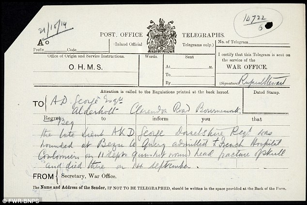 Death certificate: Lt George died in 1914 at the Battle of Marne, aged 27, from a gunshot wound to the head