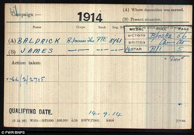 Namesake: Medal card for a Private James Baldrick, dated September 1914. He had a humble background in Londonderry - and, unlike the fictional Baldrick, he was the only member of his family who could read