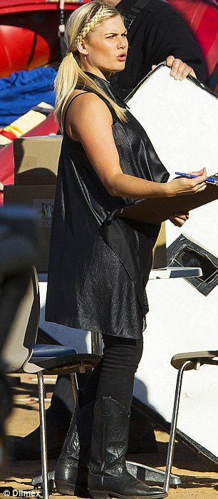 Baby bump? The new talent winner at this year's 2014 Logie Awards in Melbourne appeared to sport a bump as she took instruction from directors