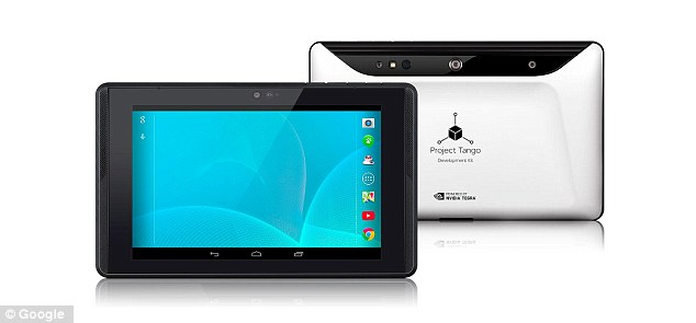 Google's innovative Project Tango is pictured. The technology uses 3D scanning sensors, similar to Microsoft's Kinect, to create whole maps of interior locations. It can be used by a device to automatically build a 3D map of anywhere the user is, allowing for far better indoor navigation