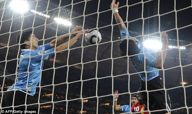 Handy: Suarez's deliberate handball versus Ghana at the 2010 World Cup helped Uruguay reach the semi-final