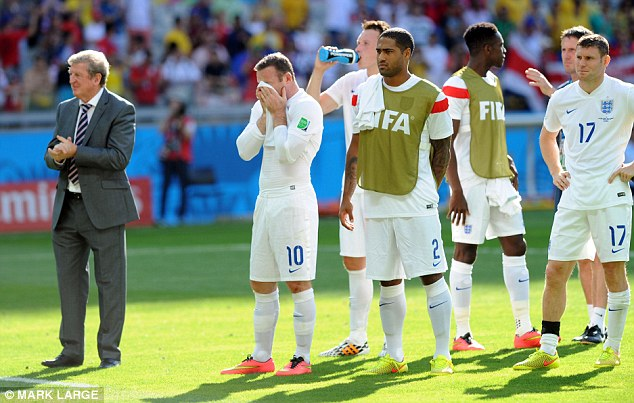 Dejection: Hodgson and his players saluting the fans following their draw with Costa Rica