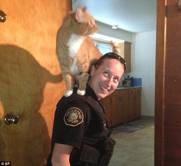 Officer Sarah Kerwin is seen with a cat as she investigates a burglarized home in Portland, Oregon