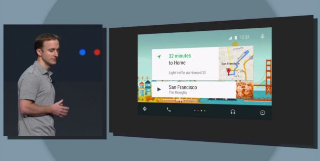Google's Patrick Brady showed off the new android auto software for cars, which uses voice control