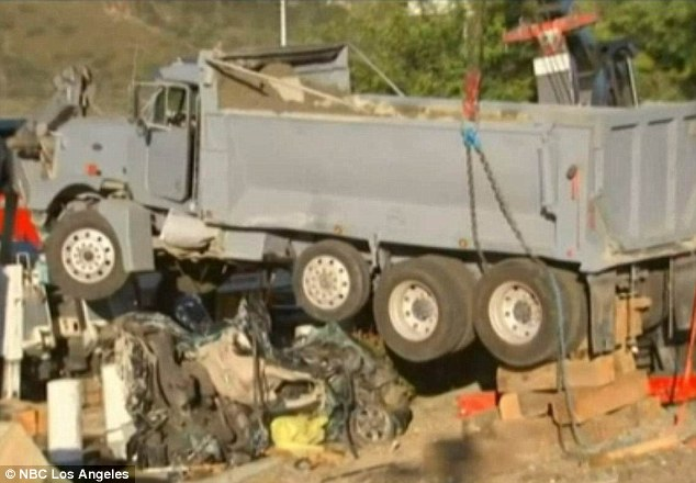 The female driver of the dump truck was exiting the southbound exit ramp of Interstate 15 when the brakes failed and the vehicle carrying wet cement drove across Highway 138